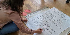 Während intensiver Gruppenarbeit entwickeln die Workshop-Teilnehmer Strategien für die Realisierung eines fairen Arbeitsplatzes.